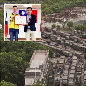 """In Clip: """"ชายไต้หวัน"""" รับสารภาพหน้าจอทีวีปักกิ่ง แอบถ่ายคลิปกองทัพจีนฝึกในเซินเจิ้นระหว่างประท้วงฮ่องกงปี 2019"""