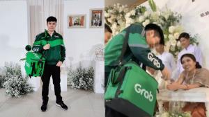 เรียกรอยยิ้ม! หนุ่มใส่ชุดพนักงานส่งอาหารร่วมงานแต่ง ในธีมขาว-เขียว (ชมคลิป)