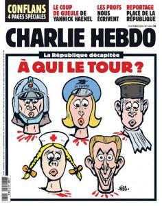 """นิตยสารชาร์ลีเอ็บโดของฝรั่งเศสฉบับล่าสุดที่วางแผงเมื่อวันที่ 21 ต.ค. ใช้ภาพปกเป็นรูปการ์ตูนบุคคลจากสายอาชีพต่างๆ ถูกตัดเหลือแค่คอ พร้อมข้อความโปรยด้านบนว่า """"สาธารณรัฐหัวขาด ใครจะเป็นรายต่อไป?"""""""