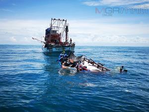 คืบหน้าเหตุเรือล่มที่ปัตตานี จนท.ยังคงระดมกำลังค้นหาผู้สูญหายอย่างต่อเนื่อง