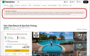 """""""ทริปแอดไวเซอร์"""" ขึ้นคำเตือนนักท่องเที่ยวต่างชาติให้ระวัง """"โรงแรมในไทยส่งนักท่องเที่ยวอเมริกันเข้าคุก"""" หลังรีวิวเชิงลบ"""