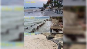 ทึ่ง! ปักไม้ซิกแซ็ก 2 แนว แก้ปัญหากัดเซาะชายหาด ผ่านไป 5 เดือน ทรายมาเต็ม