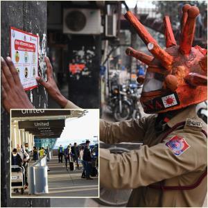 (ภาพเล็ก) การเดินทางช่วงเทศกาลวันขอบคุณพระเจ้าในสหรัะฐฯ (ภาพใหญ่) เจ้าหน้าที่รณรงค์ให้ความรู้โรคโควิด-19ของอินเดีย