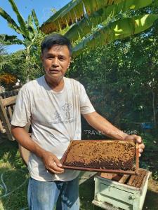 วสันต์ สุนจิรัตน์ หรือกำนันตึ๋ง กำลังโชว์ผึ้งกล่องให้ชม