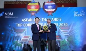 ภาพ - ศ.ดร. บัณฑิต เอื้ออาภรณ์ (ซ้าย) อธิการบดี จุฬาลงกรณ์มหาวิทยาลัย มอบรางวัล Thailand's Top Corporate Brand Hall of Fame 2020 ให้แก่ มร. วิลเลียม เอ็ลล์วู๊ด ไฮเน็ค (ขวา) ประธานกรรมการ                 บริษัท ไมเนอร์ อินเตอร์เนชั่นแนล จำกัด (มหาชน)
