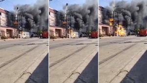 ระทึกดับเพลิง! โรงงานระเบิด-ถังลอยได้ระหว่างดับไฟ ราวหนังสงคราม โชคดีไม่มีใครเป็นอะไร