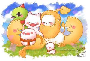 ตัวการ์ตูนเหล่าสัตว์หิมพานต์น่าเอ็นดู (ภาพ: เพจ Butapokko)