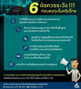 ก.ล.ต.แนะนำ 6 ข้อควรระวังก่อนลงทุนคริปโทฯ
