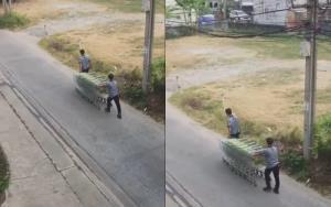 สุดมักง่าย! เผยคลิปพนักงานห้าง เดินตามเก็บรถเข็นที่ลูกค้าใช้แล้วทิ้งไว้ในซอย