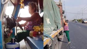 อายุเป็นเพียงตัวเลข! ยายวัย 75 สวมเสื้อคอกระเช้า ขับรถบรรทุกอย่างคล่องแคล่ว (ชมคลิป)