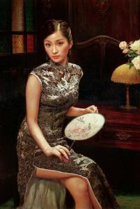 ชมความงดงามของชุดกี่เพ้าในภาพสีน้ำมันจีน