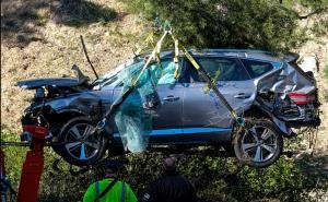 สภาพรถของ ไทเกอร์ ที่ประสบอุบัติเหตุ