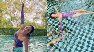 """อยู่บ้านก็เซ็กซี่ได้ """"อั้ม พัชราภา"""" จัดเต็มชุดว่ายน้ำปังๆ สวยหรูดูแพง"""
