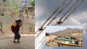 เครื่องบินรบพม่ายังบินว่อน! ทำกะเหรี่ยงหนีตายข้ามสาละวินเข้าไทยเพิ่ม