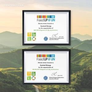 """ตอกย้ำองค์กรสีเขียว! กลุ่มเซ็นทรัล คว้า 2 รางวัล """"Climate Action Awards"""" จากยูเอ็น  เร่งขับเคลื่อนยุทธศาสตร์ """"Circular Economy"""" เพื่อสิ่งแวดล้อมที่ยั่งยืน"""