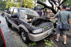 พายุฝนถล่มอีสาน น้ำท่วมเมืองบุรีรัมย์ซ้ำซาก โค่นต้นไม้ทับรถพัง ฟ้าผ่าวัวเมืองช้างดับคาทุ่ง 4 ตัว