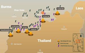 แผนที่ตั้งค่ายพักพิงผู้ลี้ภัยสงครามตามแนวชายแดนไทย-รัฐชาน (ภาพจากเพจคณะกรรมการผู้ลี้ภัยรัฐชาน)