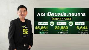 ผลประกอบการไตรมาส 1 AIS รายได้ 45,861 ล้านบาท เติบโต 7%