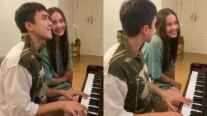 """หวานไม่หยุด """"ณเดชน์ - ญาญ่า"""" ส่งเสียงหวานเล่นเปียโน ร้องเพลง ทำมดขึ้นจอ"""