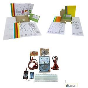 ตัวอย่างกล่องเสริมพัฒนาการของอาร์คกิระดับปฐมวัย (บน) กล่องวิทยาศาสตร์ระดับมัธยมศึกษาตอนต้น (ล่าง)