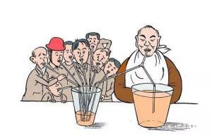 ภาพการ์ตูนล้อเสียดสีสังคมแสดงถึงความเหลื่อมล้ำของประชาชนรากหญ้ากับเจ้าสัวผู้มั่งคั่ง (ภาพจากสื่อจีน ifeng.com)