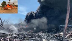 ปภ.ส่ง ฮ.ดับเพลิง 2 ลำ รถโฟมดับสารเคมี ชุดเผชิญสถานการณ์วิกฤต เข้าที่เกิดเหตุ รง.เคมีระเบิด พบอาสาดับเพลิงดับ 1 นาย