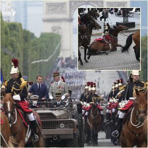 """In Clip : """"มาครง"""" จัดพิธีฉลองวันชาติฝรั่งเศสท่ามกลาง """"โควิด-19"""" แต่ฤกษ์ไม่ดีเกิดมีม้าสะดุดเหวี่ยงคนขี่ระหว่างทาง"""