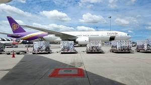 การบินไทยจัด 2 เที่ยวบินขนส่งวัคซีนซิโนฟาร์มรวม 1 ล้านโดสแล้วช่วงเช้านี้