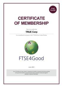 ทรูติดอันดับสมาชิกดัชนีความยั่งยืนระดับโลก FTSE4Good 2021 ถึง 5 ปีซ้อน