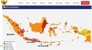 แผนที่แสดงสถานการณ์การแพร่ระบาดของโรคโควิด-19 บนเกาะต่างๆ ของอินโดนีเซีย สีแดงเป็นพื้นที่ความเสี่ยงสูงสุด สีส้มเป็นพื้นที่ความเสี่ยงสูงมาก ซึ่งเห็นได้ว่าเกาะชวาซึ่งเป็นเกาะที่เล็กที่สุดในบรรดาเกาะหลักทั้ง 5 ของอินโดนีเซีย มีการแพร่ระบาดรุนแรงเต็มเกาะ ทั้งนี้ ประชากรชาวอิเหนาราว 200 ล้านรายอาศัยอยู่บนเกาะชวา ขณะที่ประชากรอีกราว 70 ล้านราย กระจายกันไปตามเกาะต่างๆ ซึ่งมีสถานการณ์รุนแรงไม่ใช่น้อย ดูรายละเอียดเพิ่มเติมที่เว็บไซต์ของทางการอินโดนีเซีย covid19.go.id/peta-risiko