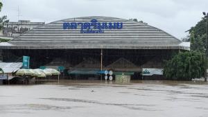 จมมิด! ฝนถล่มหนักน้ำทะลักท่วมตลาดริมเมย-เกาะโนแมนแลนด์ แม่สอด คนต่างด้าวหนีตายโกลาหล