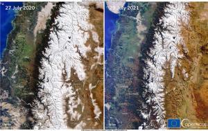 ภาพถ่ายจากดาวเทียมโคเพอร์นิคัส เซนทิเนล-3 แสดงให้เห็นหิมะที่ปกคลุมเทือกเขาแอนดีส ในอเมริกาใต้ เปรียบเทียบกันระหว่างภาพถ่ายวันที่ 27 กรกฎาคม 2020 กับที่ถ่ายวันที่ 29 กรกฎาคม 2021 ซึ่งเห็นชัดเจนว่าปริมาณหิมะน้อยลงไปเยอะในช่วง 1 ปีที่ผ่านมา