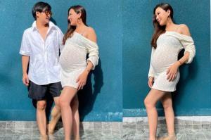 """ท้องใหญ่มาก """"บี มาติกา"""" ควงคู่สามีแชะภาพสวยๆอัปเดตอายุครรภ์ 29 สัปดาห์"""