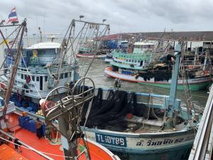 """""""พายุโกนเซิน"""" ทำเรือประมงหลายร้อยลำใน จ.ตราด จอดสงบนิ่งในท่าเทียบเรือต่างๆ"""