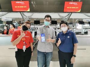 """""""ไทยเวียตเจ็ท"""" เชื่อมต่อแอพ IATA Travel Pass รายแรกของไทย พร้อมรับเที่ยวบินระหว่างประเทศ"""