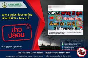 ข่าวปลอม อย่าแชร์! พายุ 2 ลูกจ่อถล่มประเทศไทย ตั้งแต่วันที่ 20 - 26 ก.ย. นี้