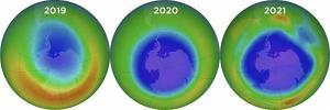 เปรียบเทียบ หลุมโอโซนที่ขยายใหญ่ขึ้นทุกปี (เครดิตภาพ NASA Goddard Photo)