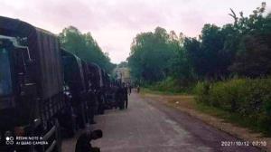 ขบวนรถทหาร 88 คัน ปักหลักพักค้างที่สนามบินเจ้าก์ทุ เมื่อคืนนี้