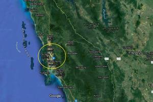 ที่ตั้งเมืองทวาย ลองโหล่ง และตะแยตชอง ริมทะเลอันดามันในภาคใต้ของพม่า