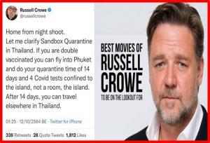 """ดารา Hollywood ชื่อดัง """"Russell Crowe"""" เผยความประทับใจ Phuket Sandbox"""